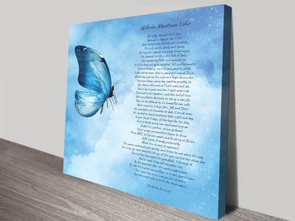 Personalised Poem Stretched Canvas Artwork