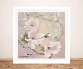Blushing Magnolias Framed Floral Art Print