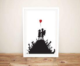 Kids on Gun Hill Framed Banksy Canvas Print
