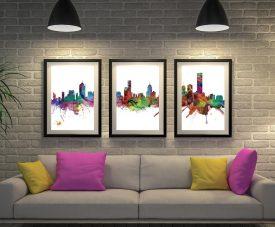 Melbourne Skyline Multicoloured Triptych Art