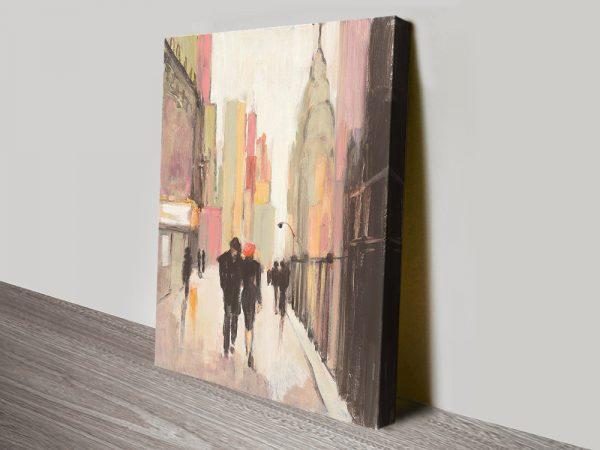 City Stroll Print on Canvas Romantic Gift Ideas