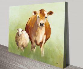 BFF ll Cow & Sheep Watercolour Print