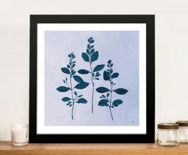 Botanical Study in Blue Framed Art on Canvas