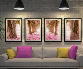 Path of Flowers Framed Quad Canvas Art Set