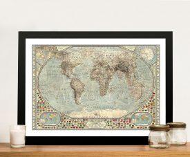 Vintage Classical World Map Canvas Art