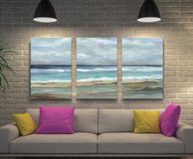 Seashore Watercolour 3-Piece Canvas Wall Art