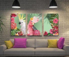 Galah & Cockatoo Triptych Wall Art Set