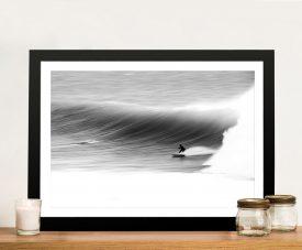 Atmospheric Surfscape Framed Black & White Art