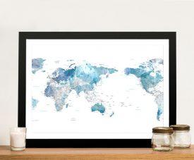 Framed Australia Centred Blue Tones World Map