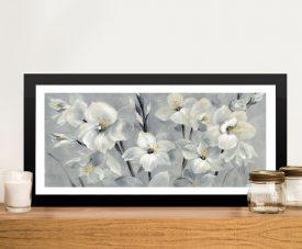 Flowers on Grey Framed Silvia Vassileva Print