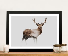 Framed Misted Stag Unique Canvas Art
