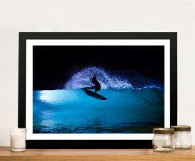 Night Surf Framed Surfscape Print on Canvas