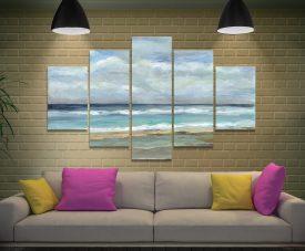 Seashore 5-Panel Canvas Seascape Art Set