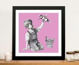 Framed Banksy Superhero Nurse Print in Pink