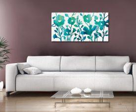 Teal Trio Floral Silvia Vassileva Panoramic Art