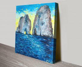 Capri at Sunrise Colourful Canvas Art