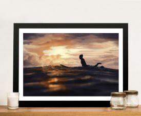 Sunset Surfing Framed Print on Canvas
