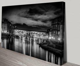 Ponte Vecchio at Sunset Black & White Artwork