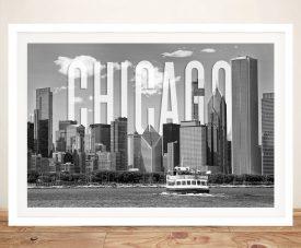 Buy a Framed Chicago City Skyline Canvas Print