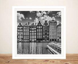 Damrak & Dancing Houses Framed Monochrome Art