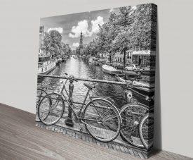 Typical Amsterdam Black & White Cityscape Art