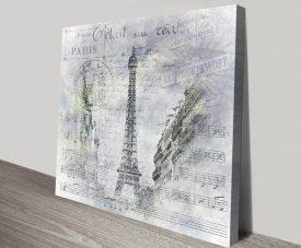 Eiffel Tower Street Scene Collage Print on Canvas