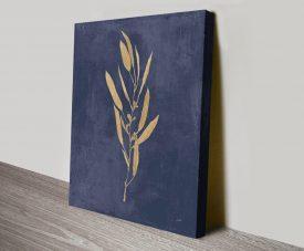 Botanical Study l Navy & Gold Print on Canvas