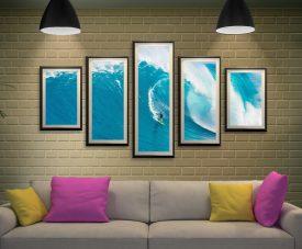 Big Sets Framed 5-Piece Surf Art on Canvas