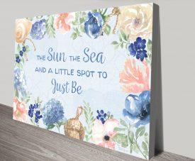 Coastline Botanical Floral Wall Art in Blue