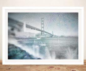 Golden Gate Bridge Rainy Day Framed Art
