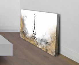 Eiffel Tower Typography Stretched Canvas Print