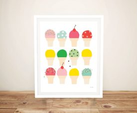 Ice Cream Fun Framed Colourful Childrens Art