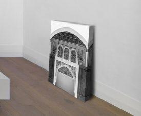Ornate Moroccan Doorway Art in Black & White