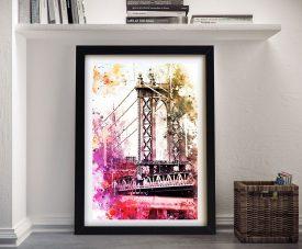 The Manhattan Bridge Framed Graphic Art