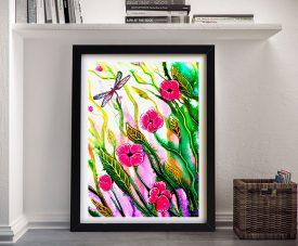 Spring Flower Dragonfly Framed Floral Art